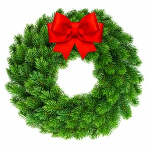 christmas wreath with ribbon